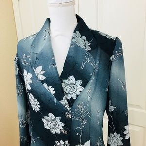 Women Jacket Small Blazer Chiffon Blue Floral